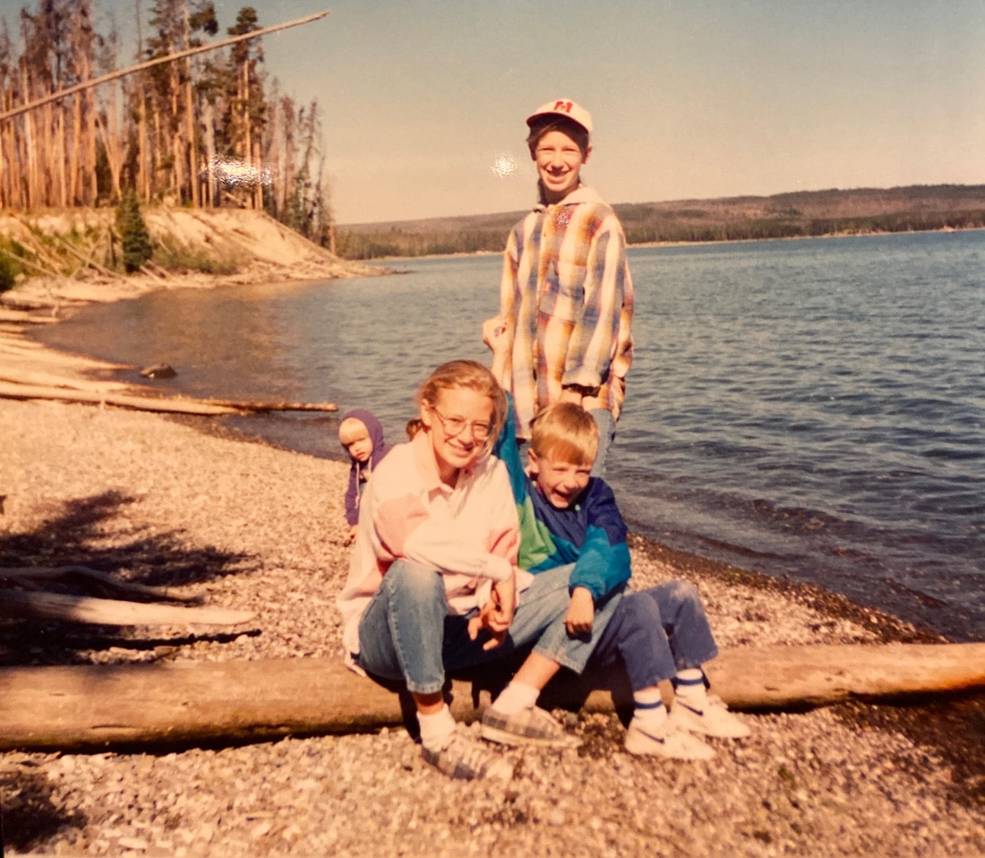 Yellowstone lake with the cousins